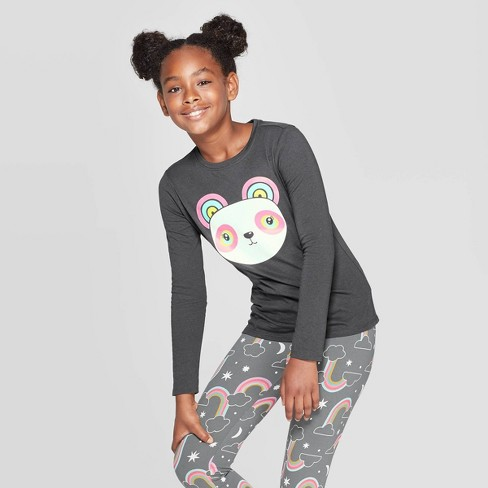 Girls' Long Sleeve Rainbow Panda Graphic T-Shirt - Cat & Jack™ Charcoal - image 1 of 3