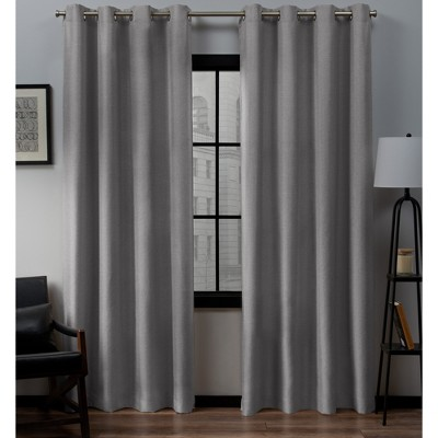 "Set of 2 (84""x52"")Loha Linen Grommet Top Light Filtering Curtain Panel Light Gray - Exclusive Home"
