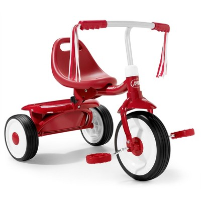 Radio Flyer 415S Kids Readily Assembled Steel Framed Adjustable Beginner Fold 2 Go Trike with Spacious Storage Bin and Handle Streamers, Red