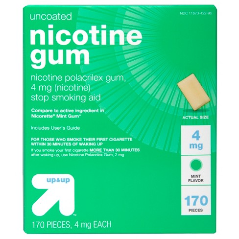Nicotine 4mg Gum Stop Smoking Aid - Mint Flavor - 170ct - up & up™ - image 1 of 4