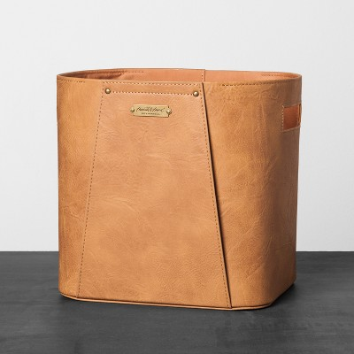 Faux Leather Storage Bin Large - Brown - Hearth & Hand™ with Magnolia