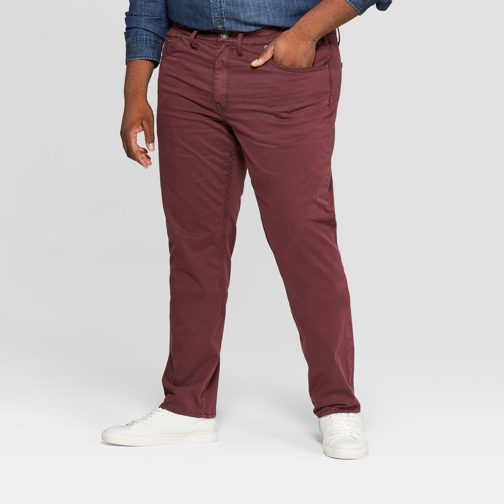 Best Discount Men Big Tall Regular Straight Fit Chino Pants Goodfellow Co Garnet Rose 50x30 Red