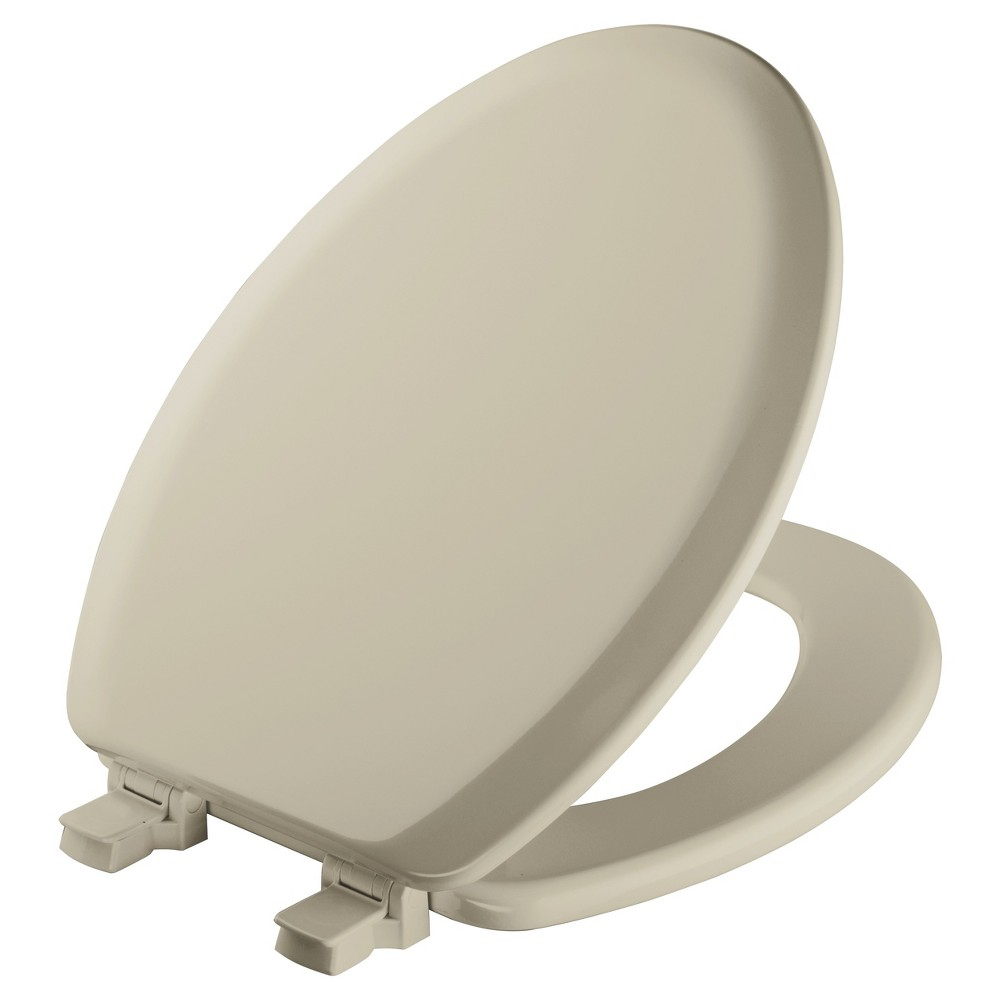 Image of Elongated Molded Wood Toilet Seat with Seat Easy Clean & Change Hinge Bone - Mayfair, Beige