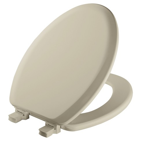 Elongated Molded Wood seat with Easy Clean & Change  Hinge Toilet Seat Bone - Mayfair - image 1 of 4