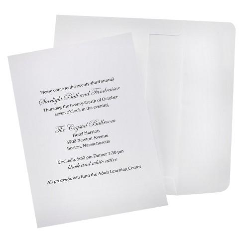 100ct Wedding Invitation Kit White
