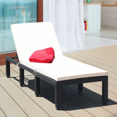 Costway Patio Lounge Chaise Couch Cushioned Rattan Height Adjustable Garden