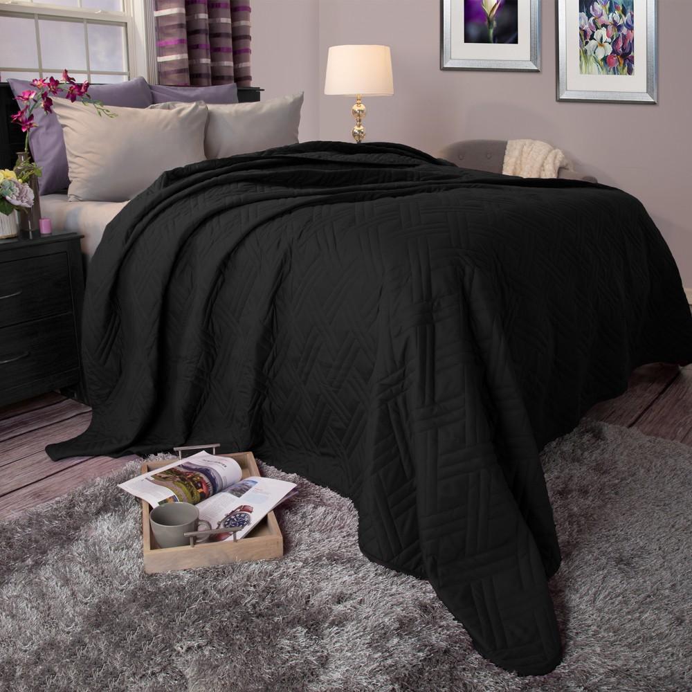 Black Solid Color Bed Quilt (King) - Yorkshire Home