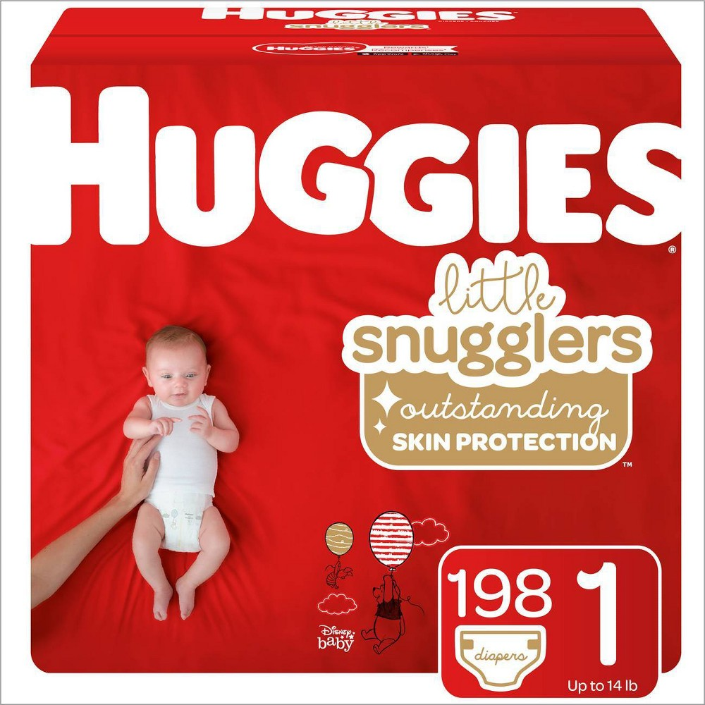Huggies Little Snugglers Baby Diapers - Size 1 (198ct), Multi-Colored