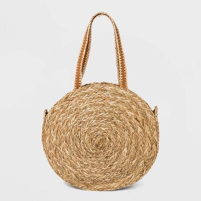 Straw Circle Tote Handbag - Universal Thread™ Natural