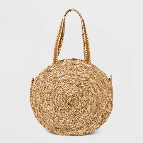 Straw Circle Tote Handbag - Universal Thread™ Natural - image 1 of 3
