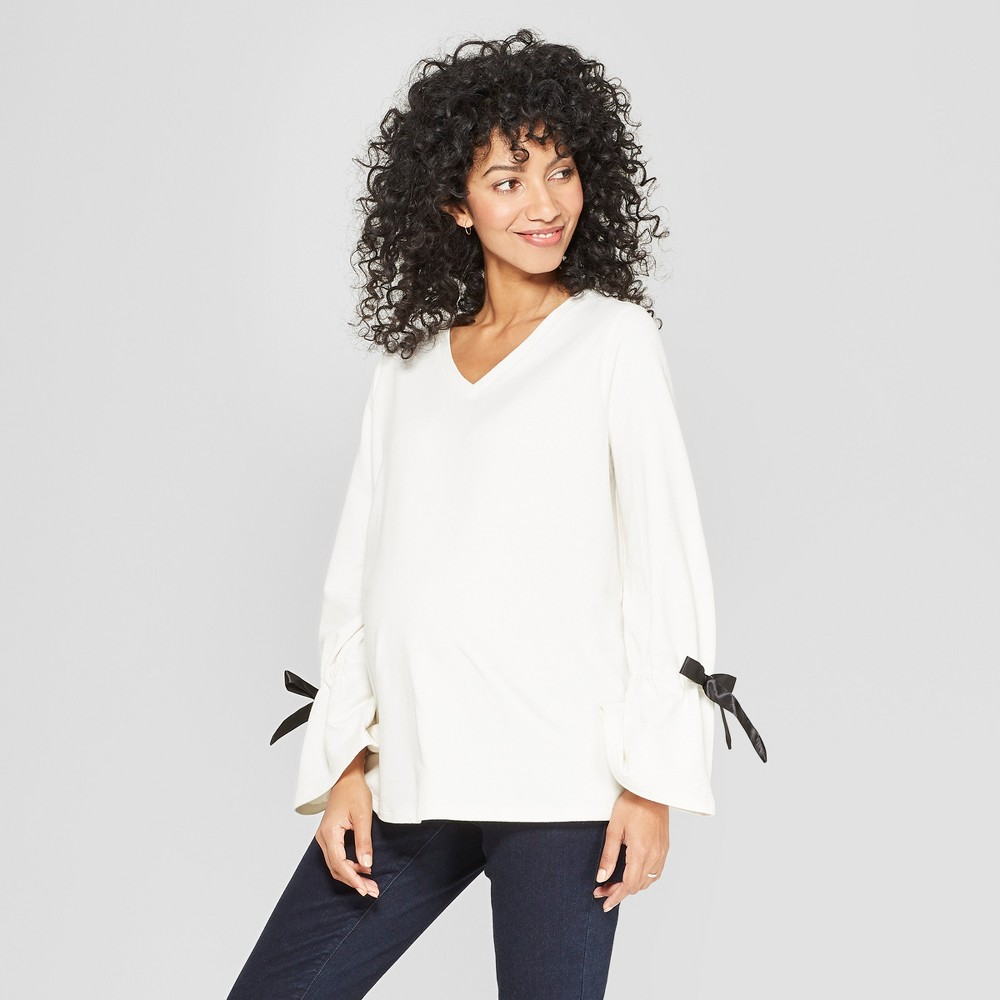 Maternity Long Tie Sleeve Top - Isabel Maternity by Ingrid & Isabel Cream S, Women's, White