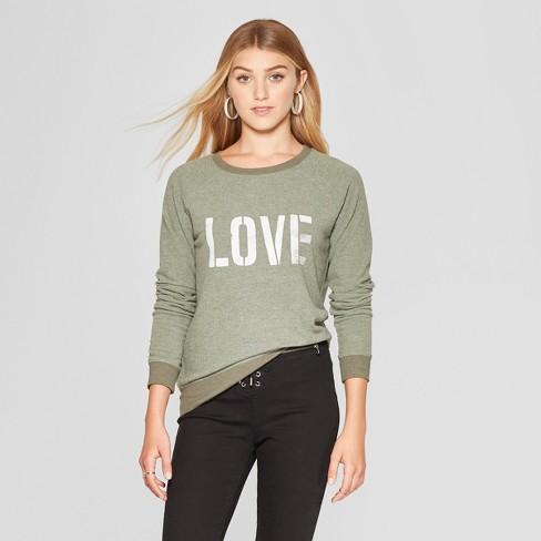 e4a969561d671 Women s LOVE Graphic Pullover Sweatshirt - Grayson Threads (Juniors ) Olive  Green
