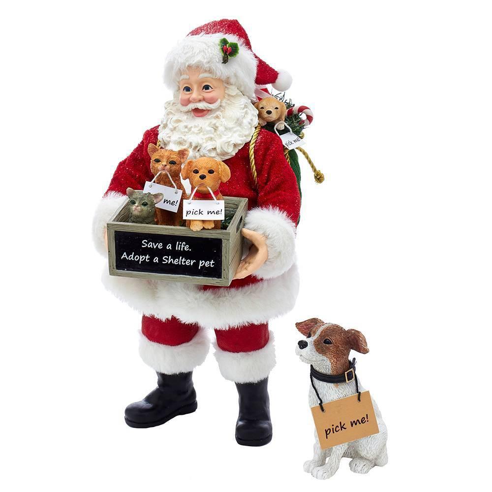 """Image of """"10.5""""""""/2pc Kurt Adler Adopt-a-Pet Santa with Dog Decorative Sculpture Set"""""""