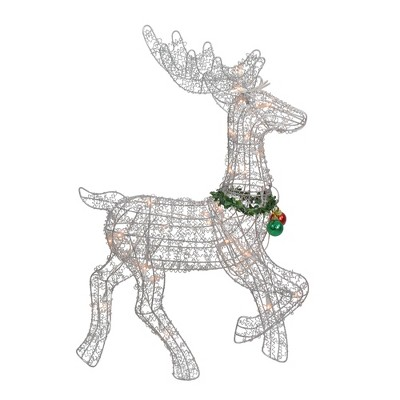 "Northlight 25"" Silver and Green Lighted Prancing Reindeer Christmas Outdoor Decor"