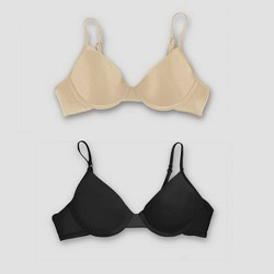 Hanes Girls' 2pk Molded Underwire Bra with Convertible Straps