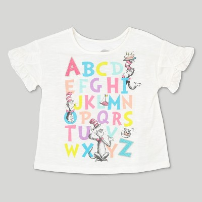 Toddler Girls' Dr. Seuss Cat in the Hat ABC Short Sleeve T-Shirt - Ivory 18 Months