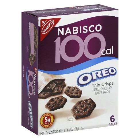 Oreo Thin Crisps Baked Chocolate Wafer Snacks 100 Calories - 0.81oz/6ct - image 1 of 3