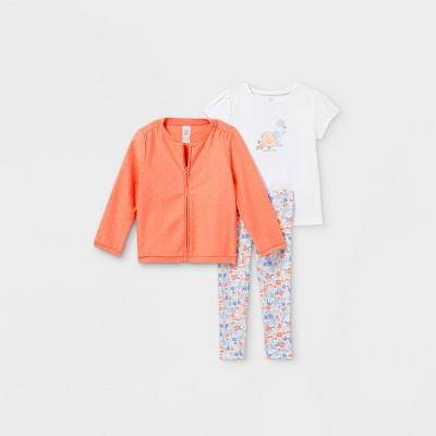 Toddler Girls' 3pc Bird Floral Top and Bottom Set - Just One You® made by carter's Coral