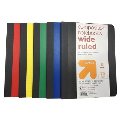 5pk Wide Ruled Solid Composition Notebooks - up & up™
