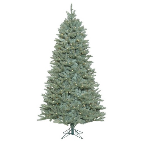 7 5ft Colorado Blue Spruce Artificial Christmas Tree Full With Clear Lights In Folding Metal Stand