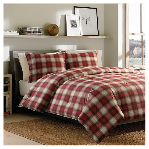 Eddie Bauer Navigation Plaid Comforter Mini Set Red King Target