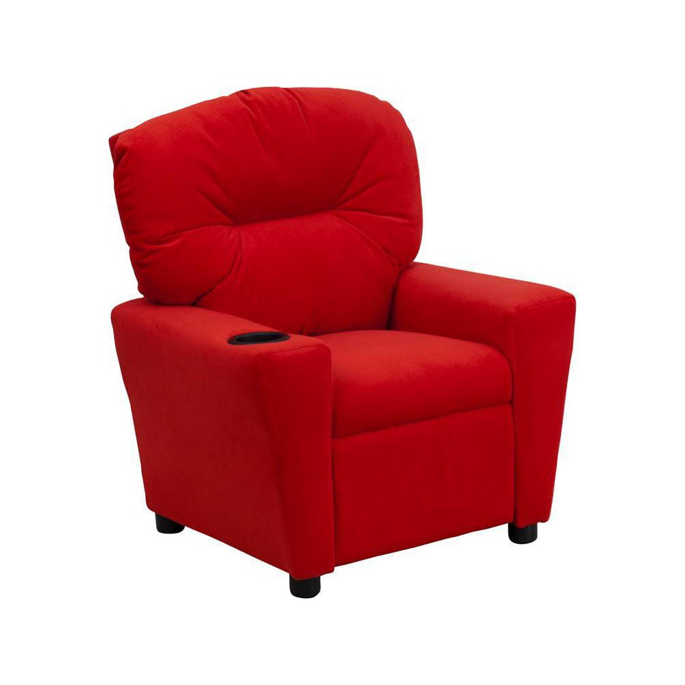 Contemporary Kids Recliner with Cup Holder Microfiber Red - Riverstone Furniture