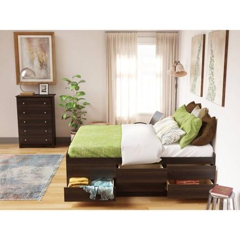 12 drawer Tall Platform Storage Bed - Queen - Prepac - image 1 of 4