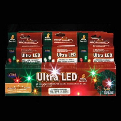 Kurt S. Adler 15ct Battery Operated LED Christmas Micro Light Set Pack of 24 Multi-color - 7' Green Wire