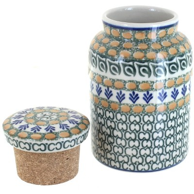 Blue Rose Polish Pottery Herb Garden Canister with Cork Top