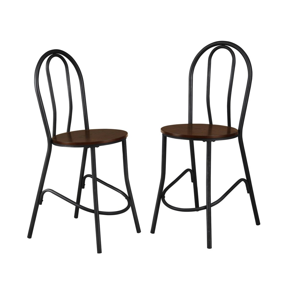 Set Of 2 24 34 Zaid Wood Seat Caf 233 Counter Height Barstools Gray Carolina Chair 38 Table