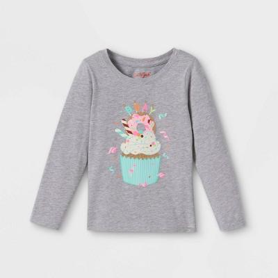 Toddler Girls' Birthday Cupcake Long Sleeve Graphic T-Shirt - Cat & Jack™ Heather Gray