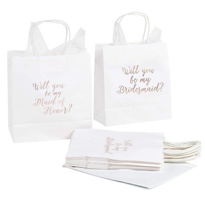 12x Will You Be My Bridesmaid Maid of Honor Wedding Favor Gift Bags Tissue Paper