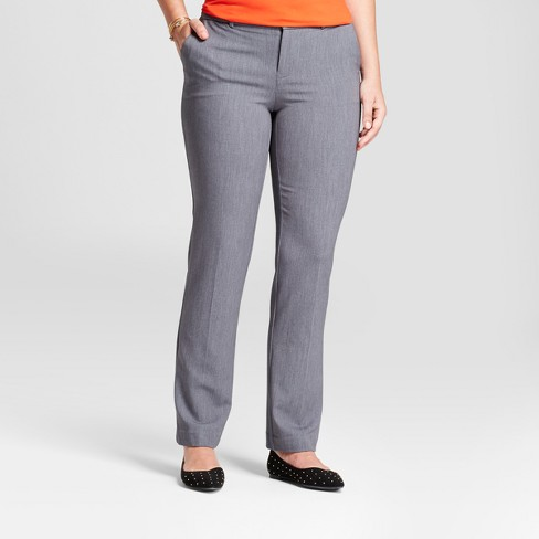 Women's Straight Leg Curvy Bi-Stretch Twill Pants - A New Day™ Gray 14S - image 1 of 3
