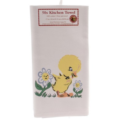 """Tabletop 24.0"""" Sally The Duck Kitchen Towel Flour Sack 100% Cotton Red And White Kitchen Company  -  Kitchen Towel"""