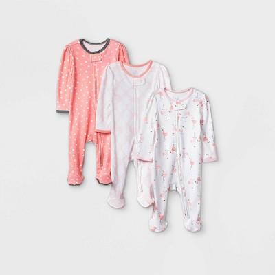Baby Girls' 3pk Flamingo Zip-Up Sleep N' Play - Cloud Island™ Coral Newborn