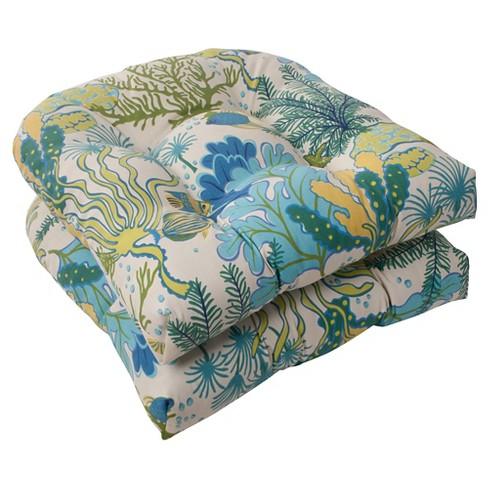 Outdoor 2 Piece Wicker Seat Cushion Set Green Blue Ocean Scene