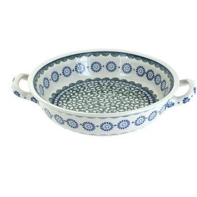 Blue Rose Polish Pottery Maia Small Round Casserole with Handles