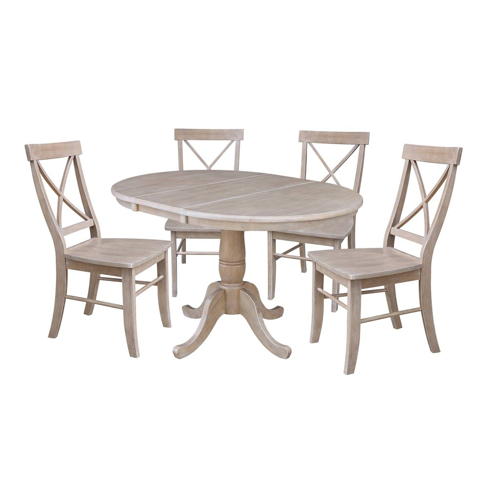 36 Hermione Extension Dining Table and Four Chairs Taupe (Brown) - International Concepts
