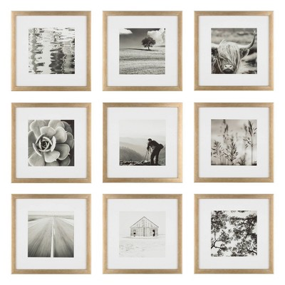 """(Set of 9)12"""" x 12"""" Gallery Grid Kit Gold - Instapoints"""