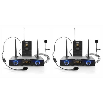 Pyle PDWM1988B Compact Wireless Portable PA Microphone Receiver Base System with Belt Pack Transmitter, Lavalier & Headset Microphones, Black (2 Pack)
