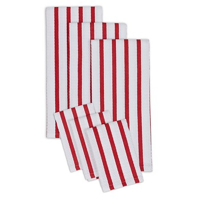 Red Stripe Heavyweight Dish towel dish cloth Set Of 3 Red - Design Imports
