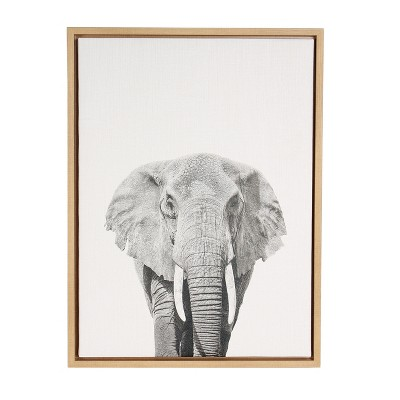 "24"" x 18"" Elephant Framed Canvas Art - Uniek"