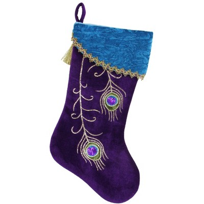 "Northlight 19"" Purple Velvet Regal Peacock Embroidered Feather Christmas Stocking with Gold Tassel"