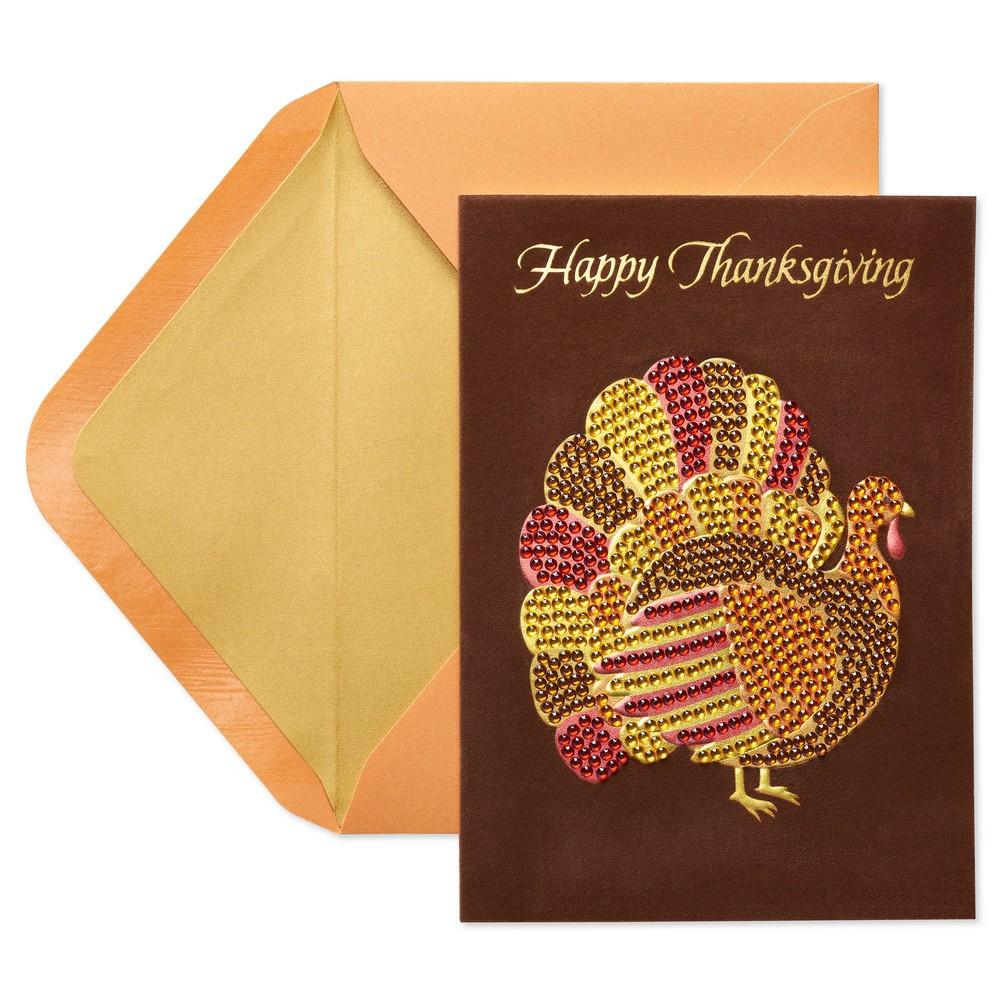Gemmed Turkey Thanksgiving Greeting Card - Papyrus, Multi...