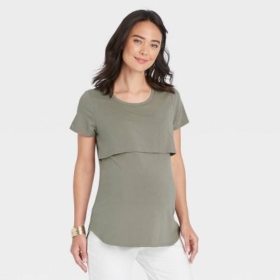 Short Sleeve Nursing Maternity T-Shirt - Isabel Maternity by Ingrid & Isabel™ Olive Green XL