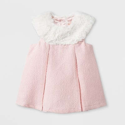 Baby Girls' Faux Fur Dress - Cat & Jack™ Pink 3-6M