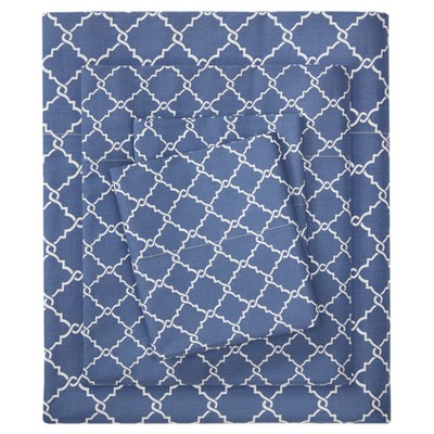 Queen Fretwork Geometric Printed Cotton Sheet Set Navy
