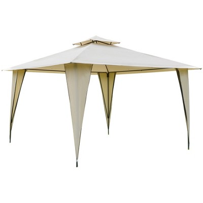 Outsunny 12' x 12' Outdoor Canopy Tent Party Gazebo with Double-Tier Roof, Steel Frame, Included Ground Stakes