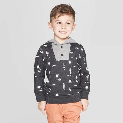 Genuine Kids® from OshKosh Toddler Boys' Desert Print Hooded Pullover - Black 12M - image 1 of 3