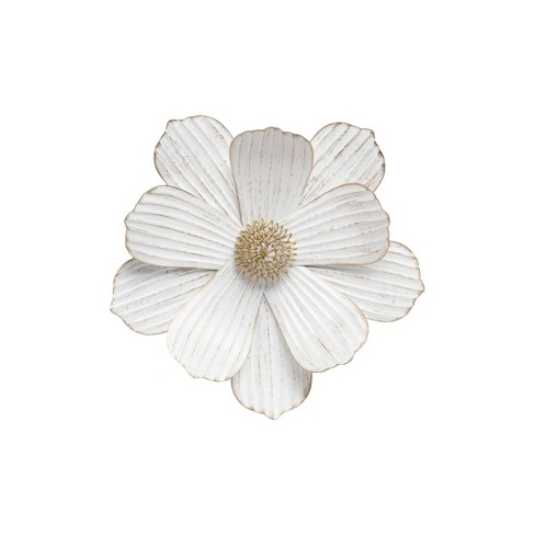 Small 14 Inch Diameter Distressed White Metal Flower Wall Decor Foreside Home Garden Target
